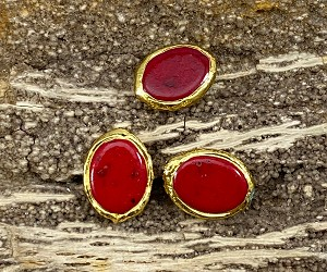 Gold Plated Over Oval Dyed Red Magnesite Edge
