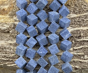 Natural Blue Coral 9-10mm Side Hole Cube