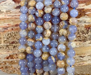Skin on Blue Chalcedony 8mm Round