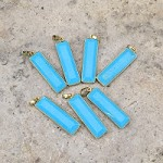 Magnesite Dyed Turq Blue 13x43mm Cut, Faceted Rectangle Gold (Gold Plated) Pendant (1pc)