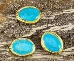 Gold Plated Rim around Turq, Dyed Magnesite Oval