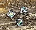 Pave Cube Bead Abalone w/ Black and Clear