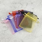 Sheer Organza Bags Drawstring Gift Bags Mesh Jewelry Pouches 3.5x2.5 Inch (Pack of 12)