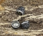 Pave Tassel Caps 14-16mm x 14-15mm Black and Clear