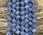 Natural Blue Coral 8-9mm Side Hole Cube