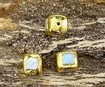 Gold Plated Over Cube Square Pearl
