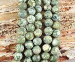 Rainforest Jasper aka Green Rhyolite 10mm Matte Round Grade A