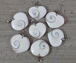 Shiva Shell, Pacific Cat's Eye Shell, Operculum, Gastropod Heart Pendant