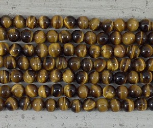 Yellow Tiger Eye 2.5mm Hole AA Grade 8mm