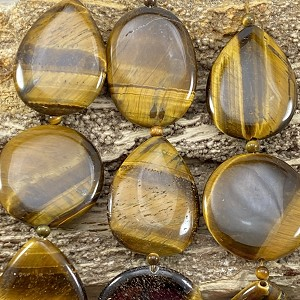 Yellow Tiger Eye 30x40mm Mix Shape Coin, Oval, Teardrop